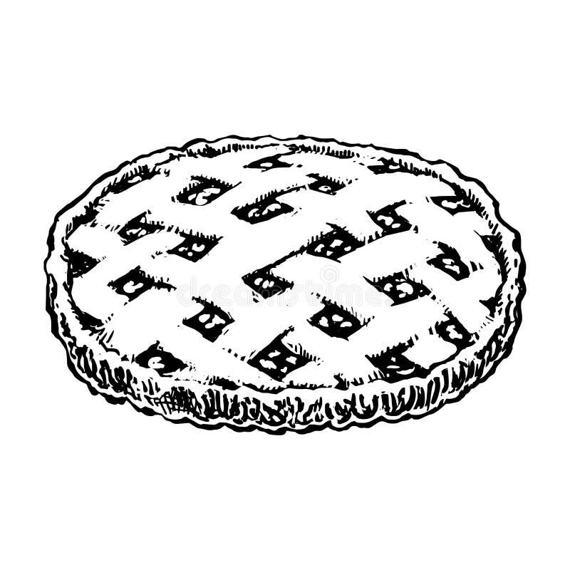 Het Pictogram van de appeltaartschets Eigengemaakte Geïsoleerde Cakehand Getrokken Uitstekende Vectorillustratie vector illustratie