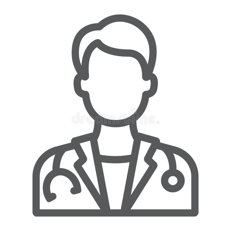 Het pictogram van de artsenlijn, geneeskunde en het ziekenhuis, arts royalty-vrije illustratie
