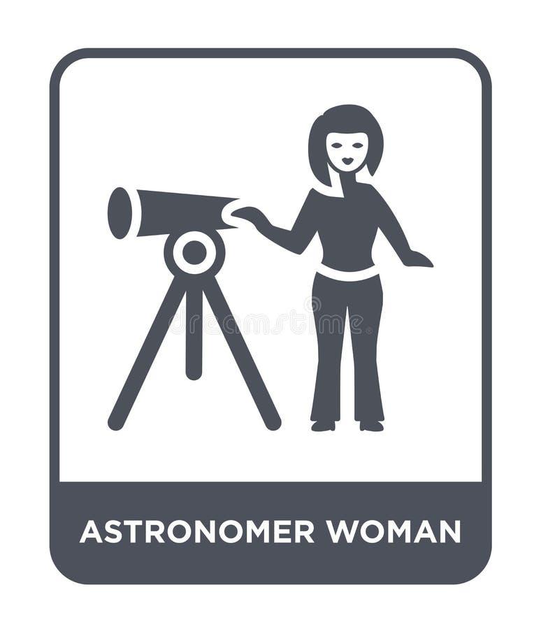 het pictogram van de astronomenvrouw in in ontwerpstijl het pictogram van de astronomenvrouw dat op witte achtergrond wordt geïso vector illustratie
