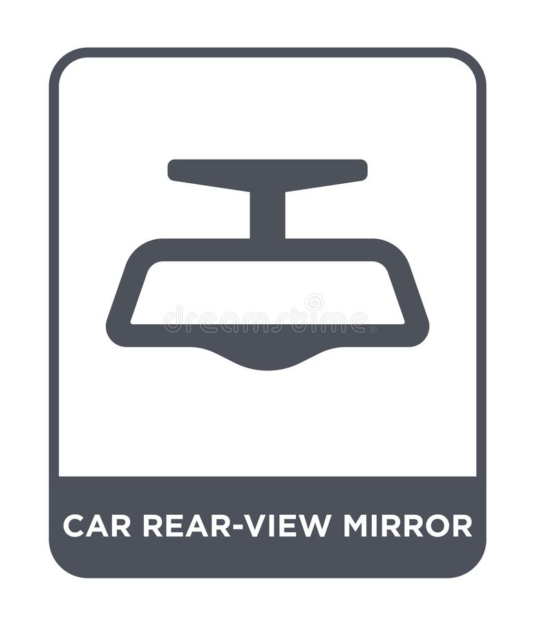 het pictogram van de autoachteruitkijkspiegel in in ontwerpstijl het pictogram van de autoachteruitkijkspiegel op witte achtergro stock illustratie