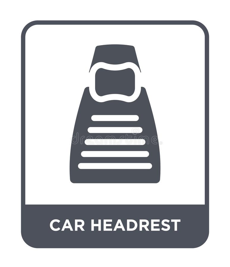 het pictogram van de autohoofdsteun in in ontwerpstijl het pictogram van de autohoofdsteun op witte achtergrond wordt geïsoleerd  royalty-vrije illustratie