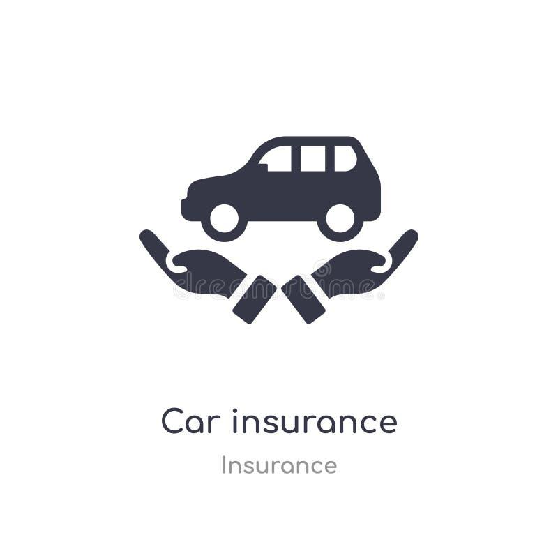 Het pictogram van de autoverzekering geïsoleerde het pictogram vectorillustratie van de autoverzekering van verzekeringsinzamelin vector illustratie