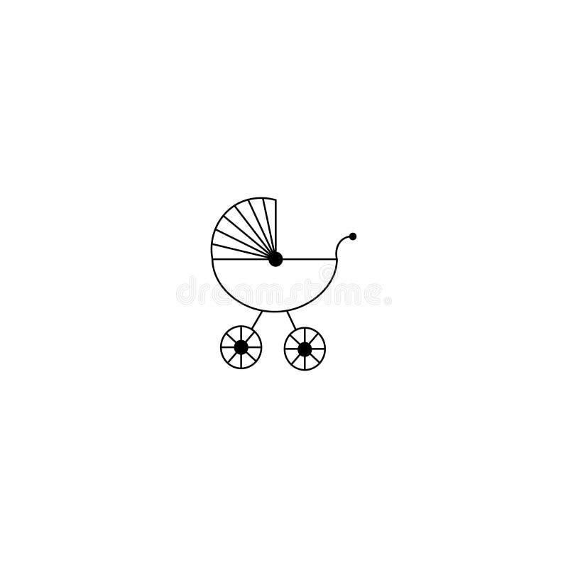 Het pictogram van de babykinderwagen op witte achtergrond wordt geïsoleerd die Vector illustratie vector illustratie