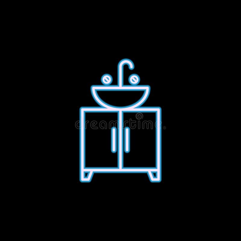 het pictogram van de badkamersgootsteen in neonstijl Één van het pictogram van de Meubilairinzameling kan voor UI, UX worden gebr royalty-vrije illustratie