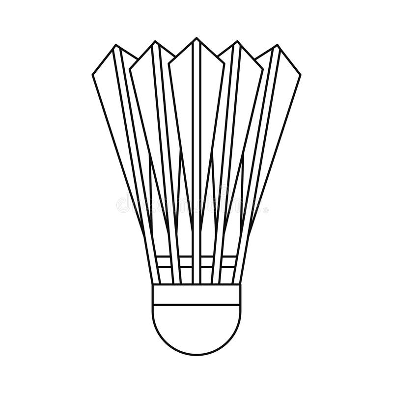 Het pictogram van de badmintonshuttle, overzichtsstijl vector illustratie