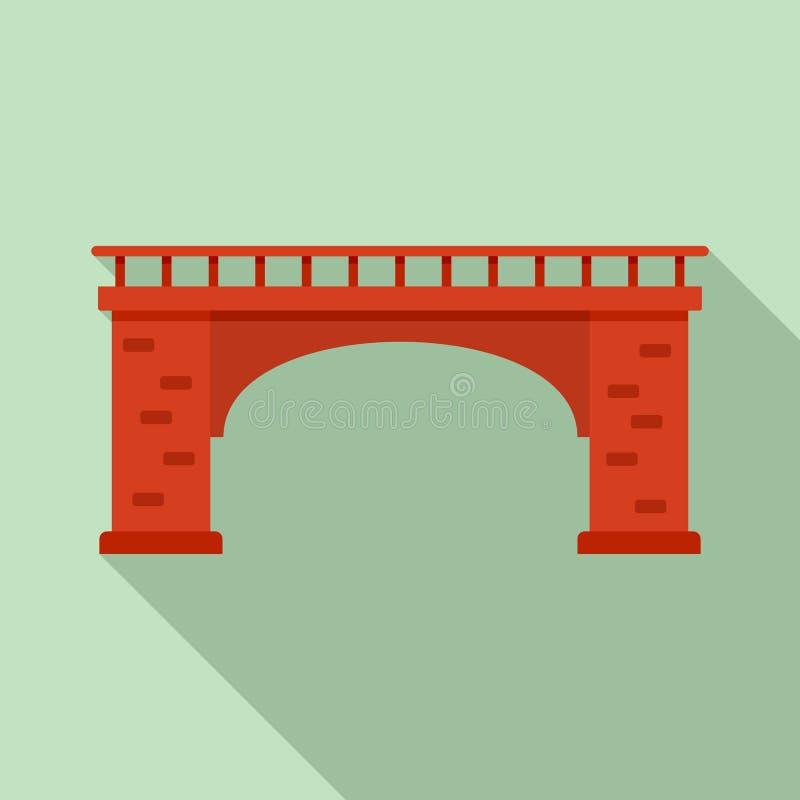Het pictogram van de baksteenbrug, vlakke stijl stock illustratie