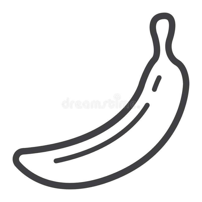 Het pictogram van de banaanlijn, fruit en dieet, vectorgrafiek royalty-vrije illustratie
