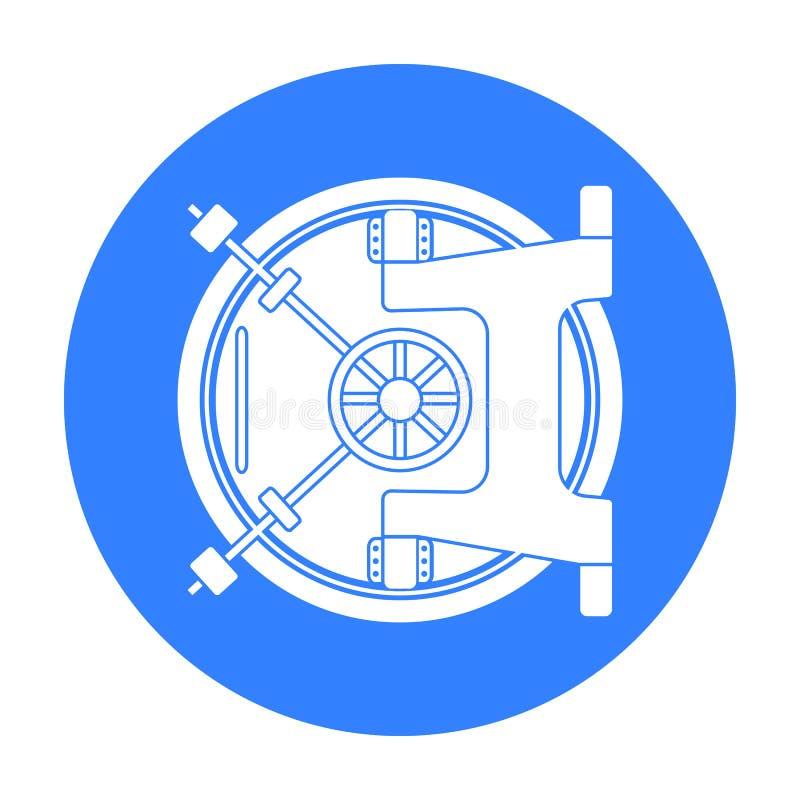 Het pictogram van de bankkluis in zwarte die stijl op witte achtergrond wordt geïsoleerd Geld en de voorraad vectorillustratie va vector illustratie