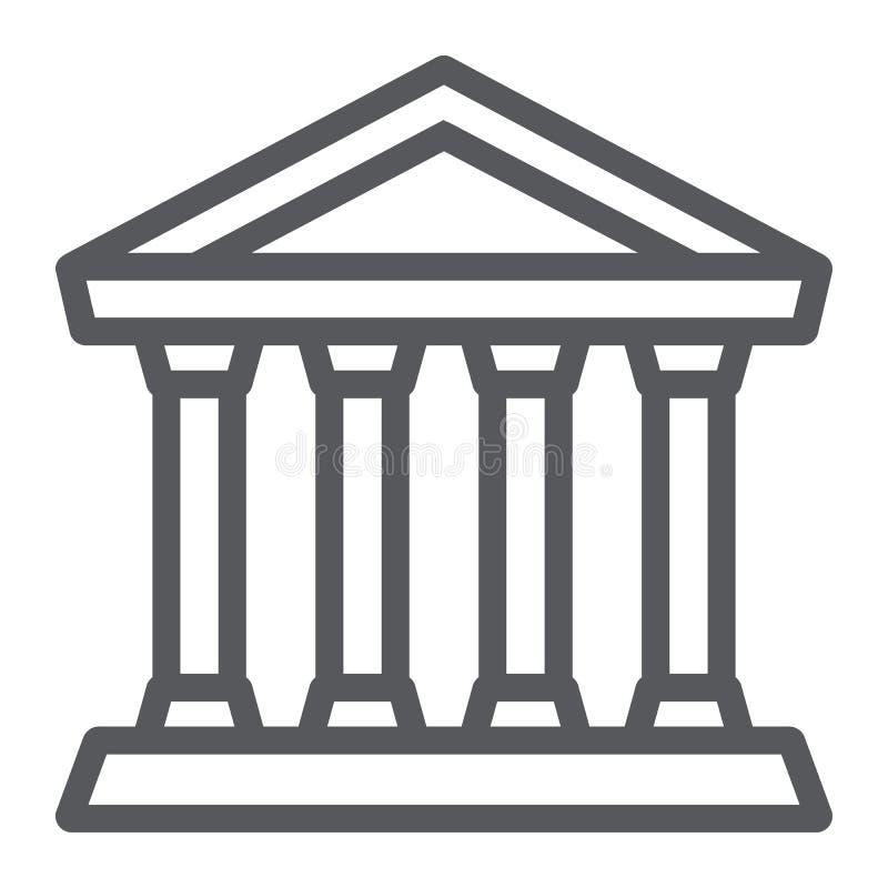 Het pictogram van de banklijn, de bouw en architectuur, gerechtsgebouwteken, vectorafbeeldingen, een lineair patroon op een witte vector illustratie