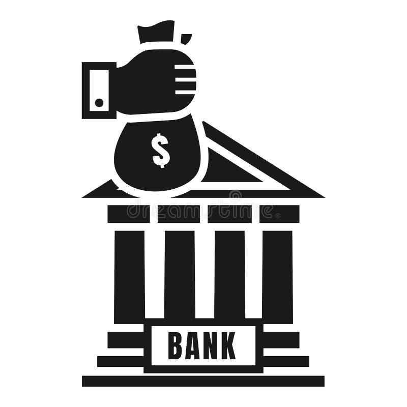 Het pictogram van de de bankstorting van de geldzak, eenvoudige stijl stock illustratie