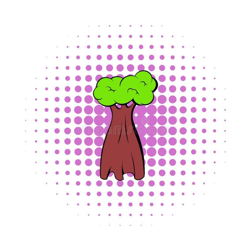 Het pictogram van de baobabboom, strippaginastijl stock illustratie