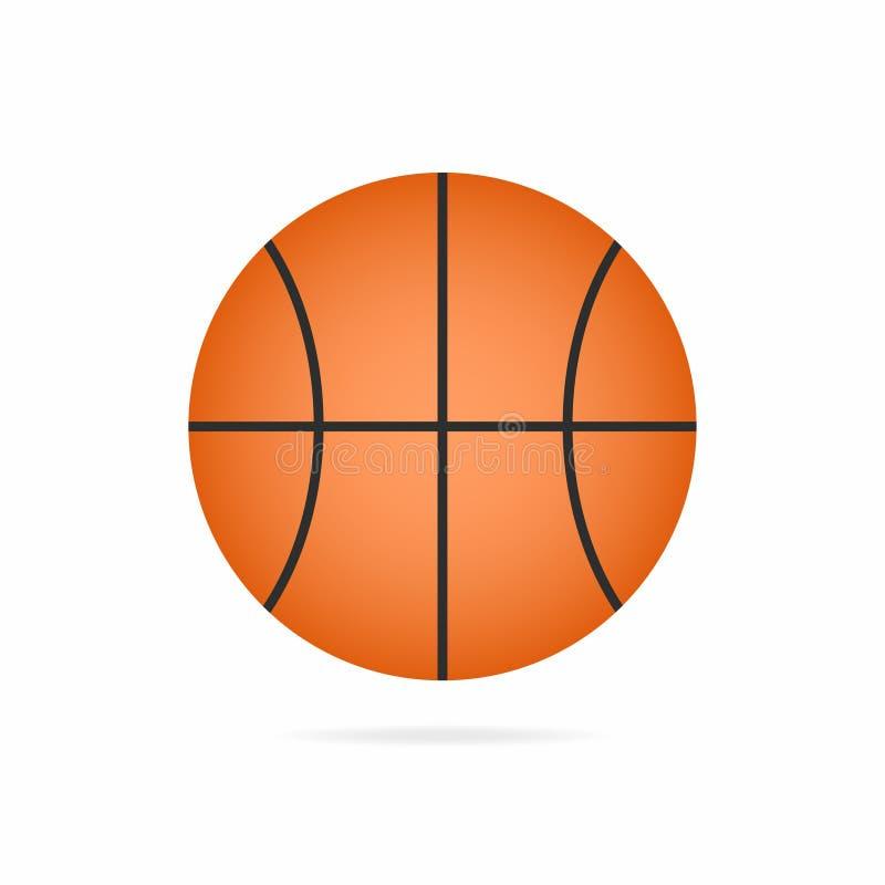 Het pictogram van de basketbalbal met schaduw op witte achtergrond wordt geïsoleerd die vector illustratie