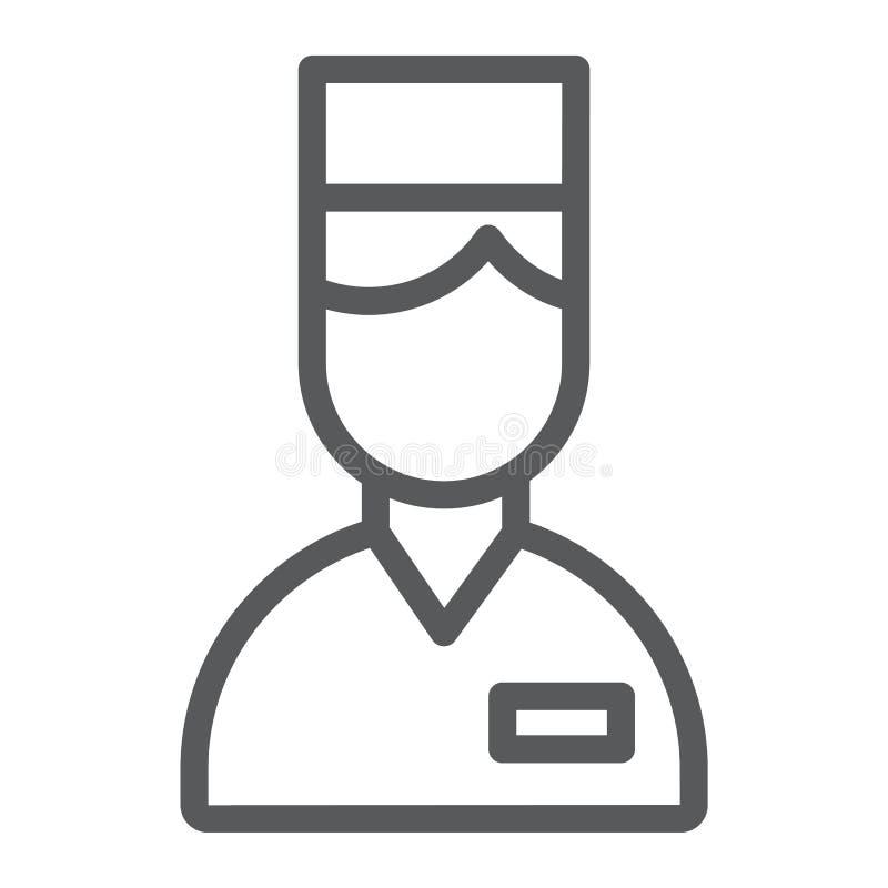 Het pictogram van de bediendelijn, hotel en de dienst, portierteken, vectorafbeeldingen, een lineair patroon op een witte achterg royalty-vrije illustratie