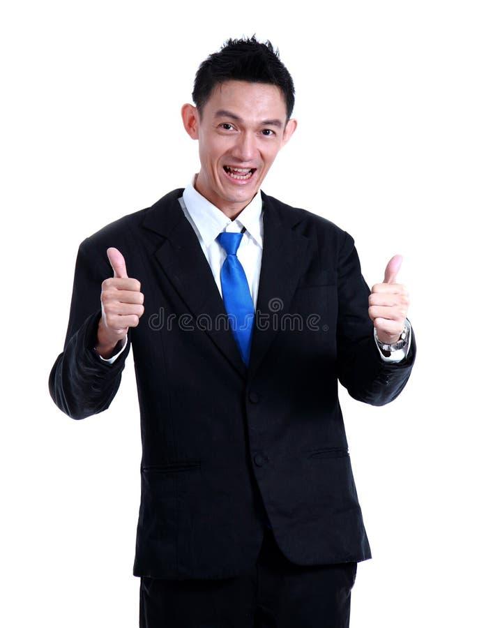Het pictogram van de bedrijfsmensenhand zoals en glimlach op witte achtergrond royalty-vrije stock afbeelding