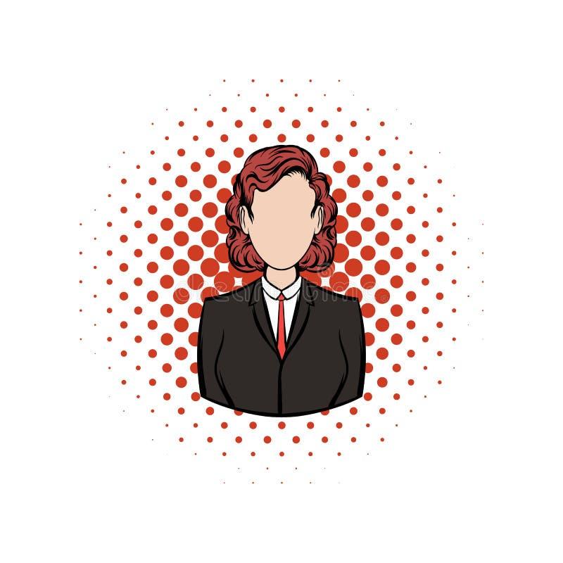Het pictogram van de bedrijfsvrouwenstrippagina royalty-vrije illustratie