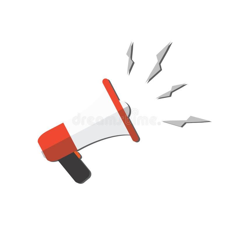 Het pictogram van de beeldverhaalmegafoon Sociale Media die concept op de markt brengen vectorillustratie in vlak ontwerp op witt royalty-vrije illustratie