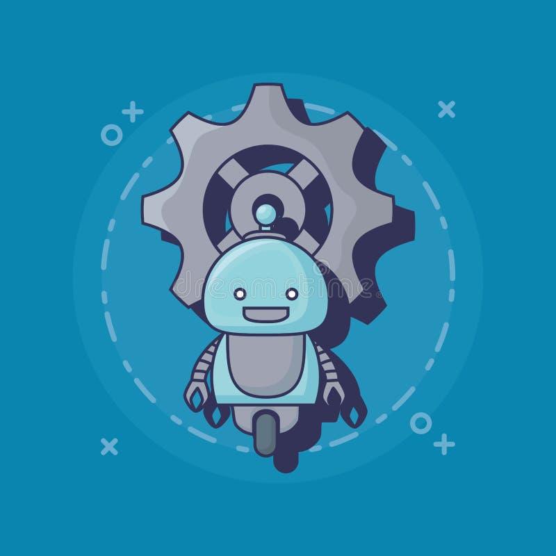 Het pictogram van de beeldverhaalrobot royalty-vrije illustratie