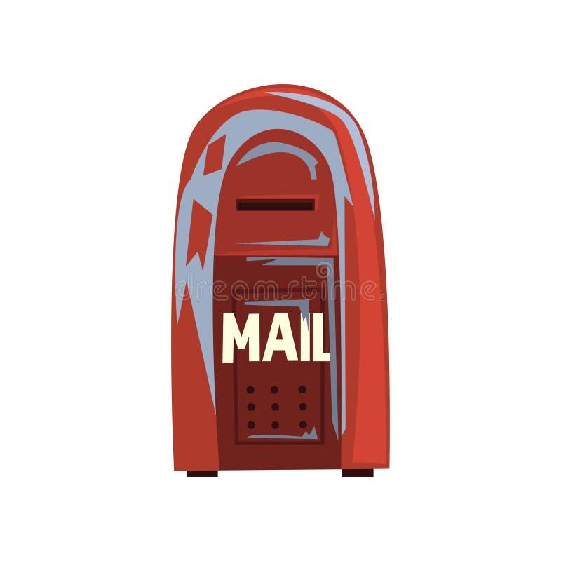 Het pictogram van de beeldverhaalstijl van oude sjofele brievenbus Rood die metaalpostbox hangen Teken voor mensen communicatie c stock illustratie