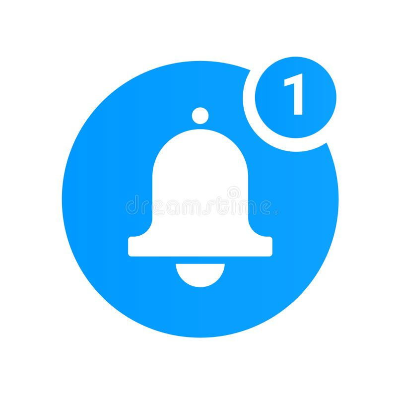Het pictogram van de berichtklok voor inkomend inboxbericht Vector bellend klok en berichtaantal stock illustratie