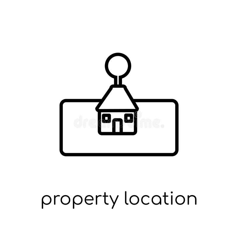 het pictogram van de bezitsplaats In moderne vlakke lineaire vector propert stock illustratie