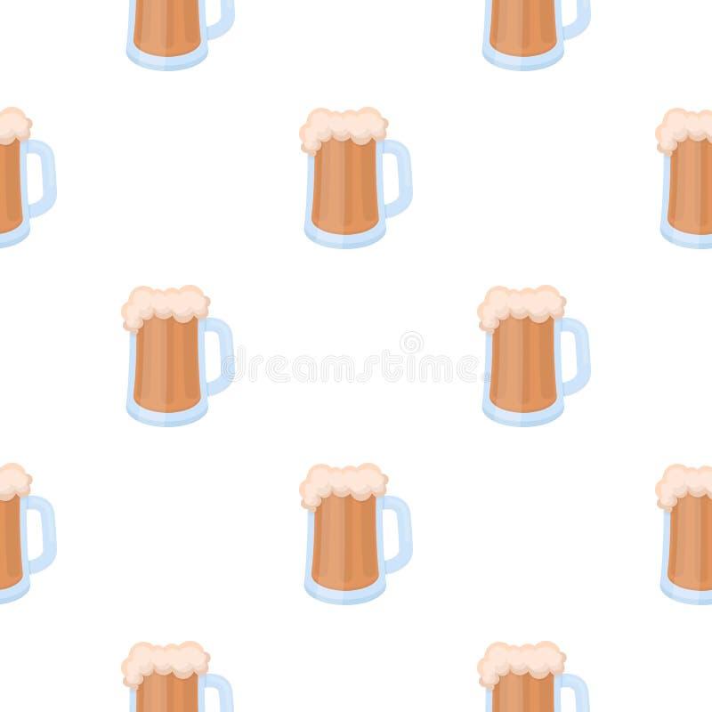 Het pictogram van de biermok in beeldverhaalstijl op witte achtergrond De voorraad vectorillustratie van het Oktoberfestpatroon stock illustratie