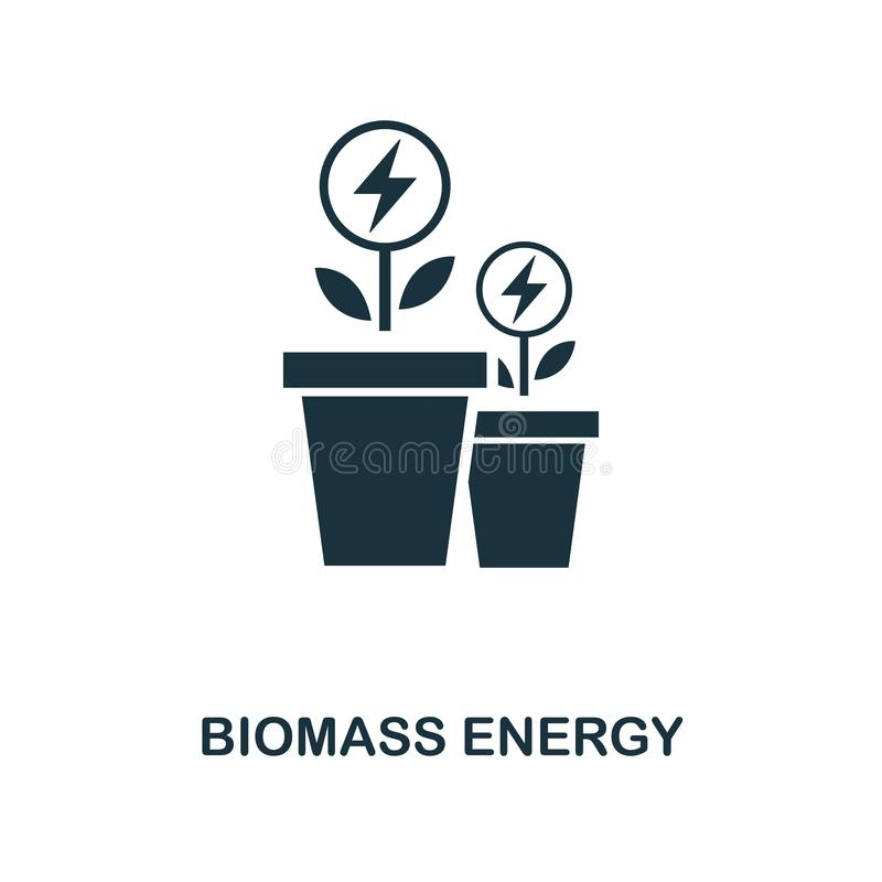 het pictogram van de biomassaenergie Zwart-wit stijlontwerp van macht en energiepictograminzameling Ui ONO biomassa van het pixel royalty-vrije illustratie