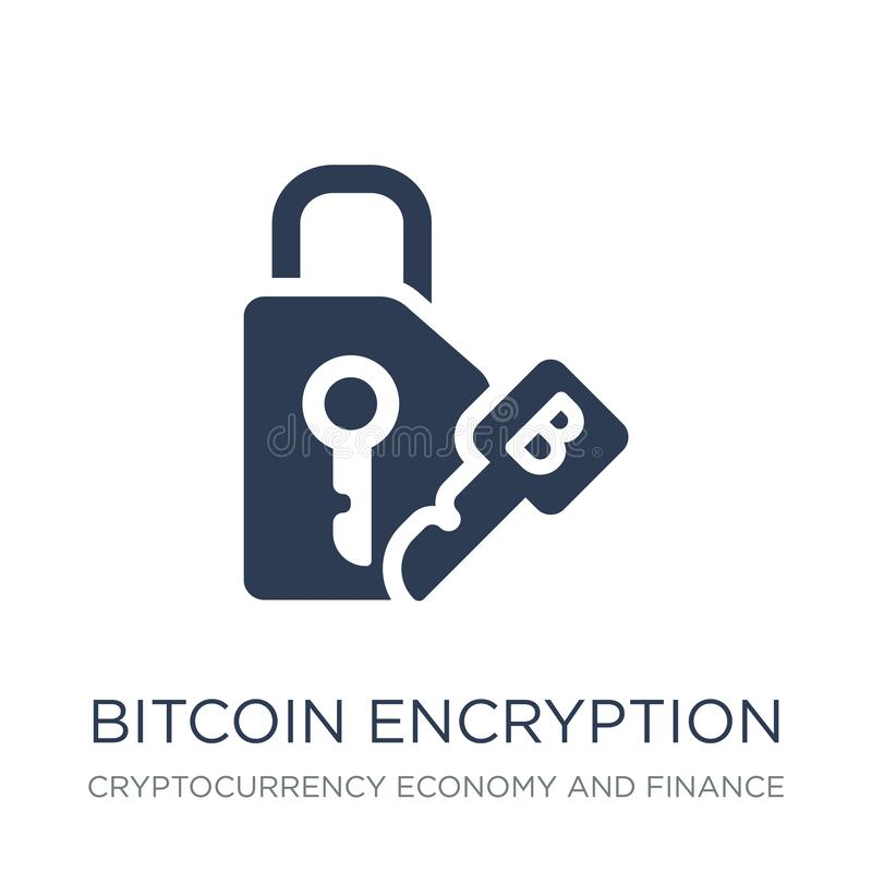 Het pictogram van de Bitcoinencryptie In vlakke vectorbitcoin-encryptie i vector illustratie