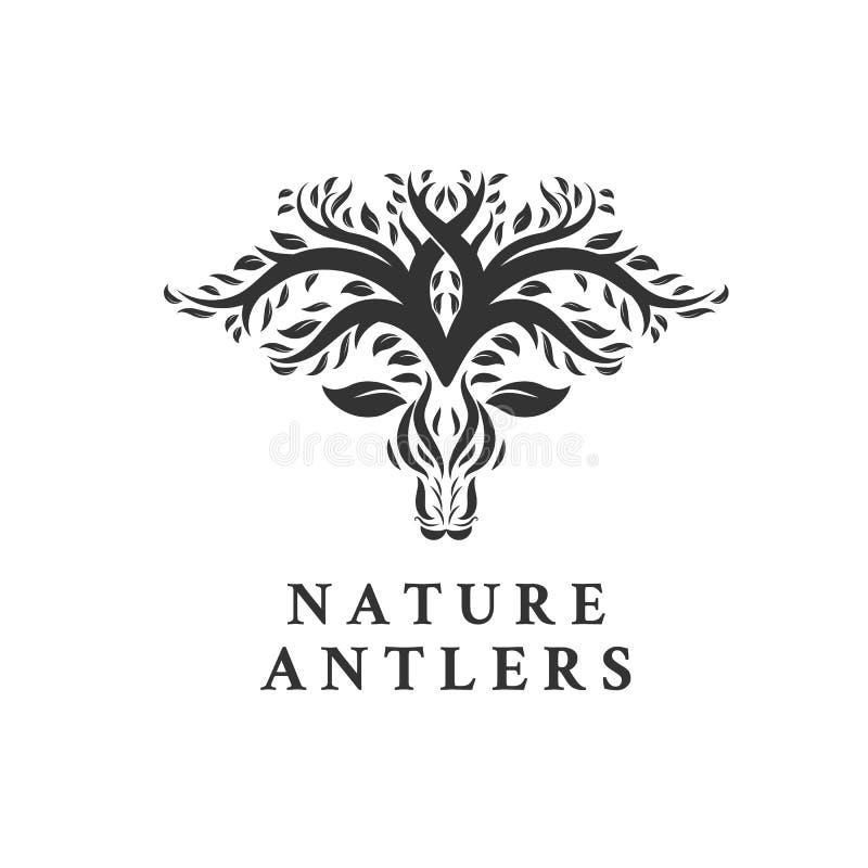 Het pictogram van de Bladerenforest logo vector van de hertenboom royalty-vrije illustratie