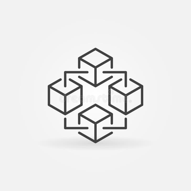 Het pictogram van de Blockchaintechnologie Vectorblokketen symbool royalty-vrije illustratie