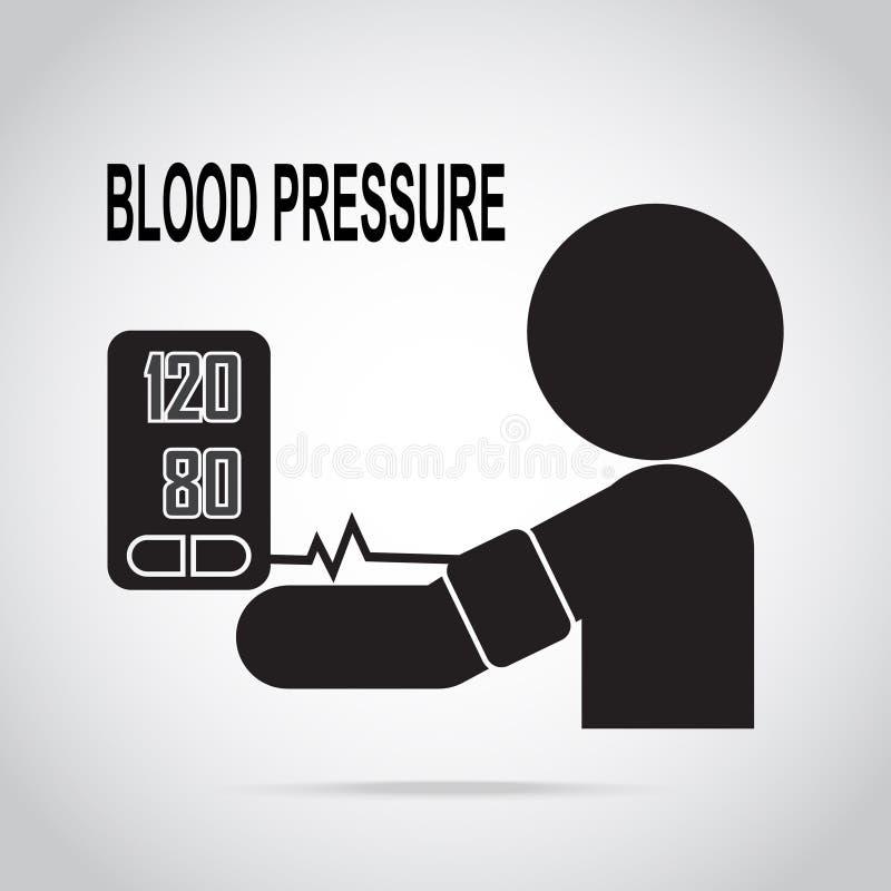 Het pictogram van de bloeddrukcontrole, medisch teken vector illustratie