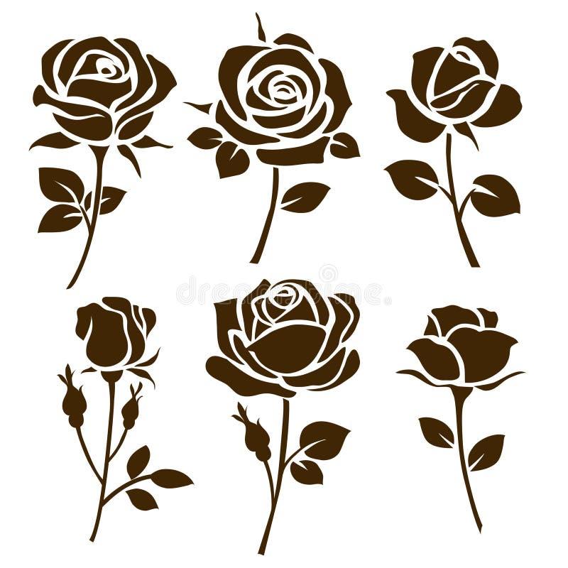 Het pictogram van de bloem De reeks van decoratief nam silhouetten toe stock illustratie