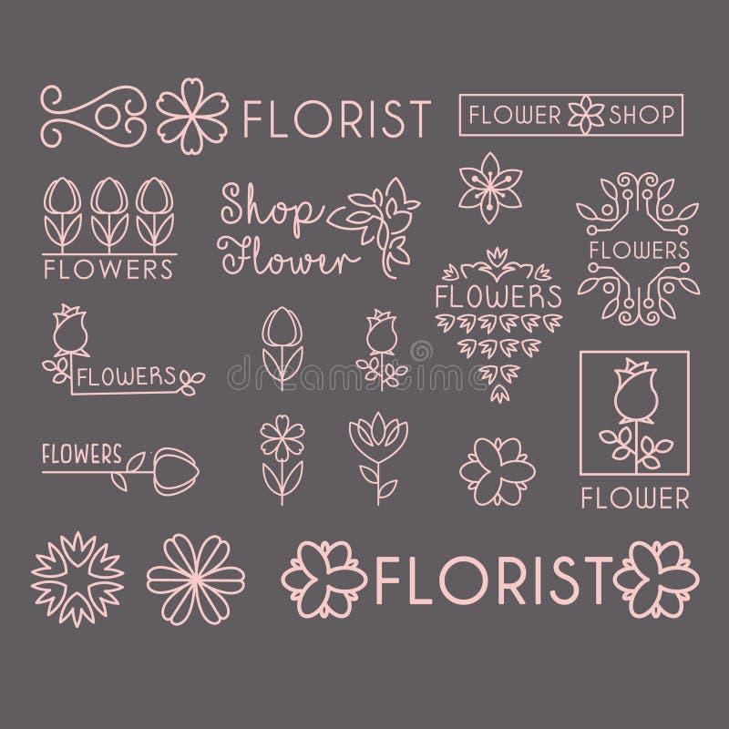 Het Pictogram van de bloemwinkel en het Van letters voorzien Reeks royalty-vrije illustratie