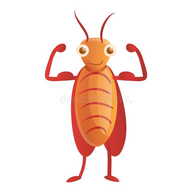 Het pictogram van de bodybuilderkakkerlak, beeldverhaalstijl royalty-vrije illustratie
