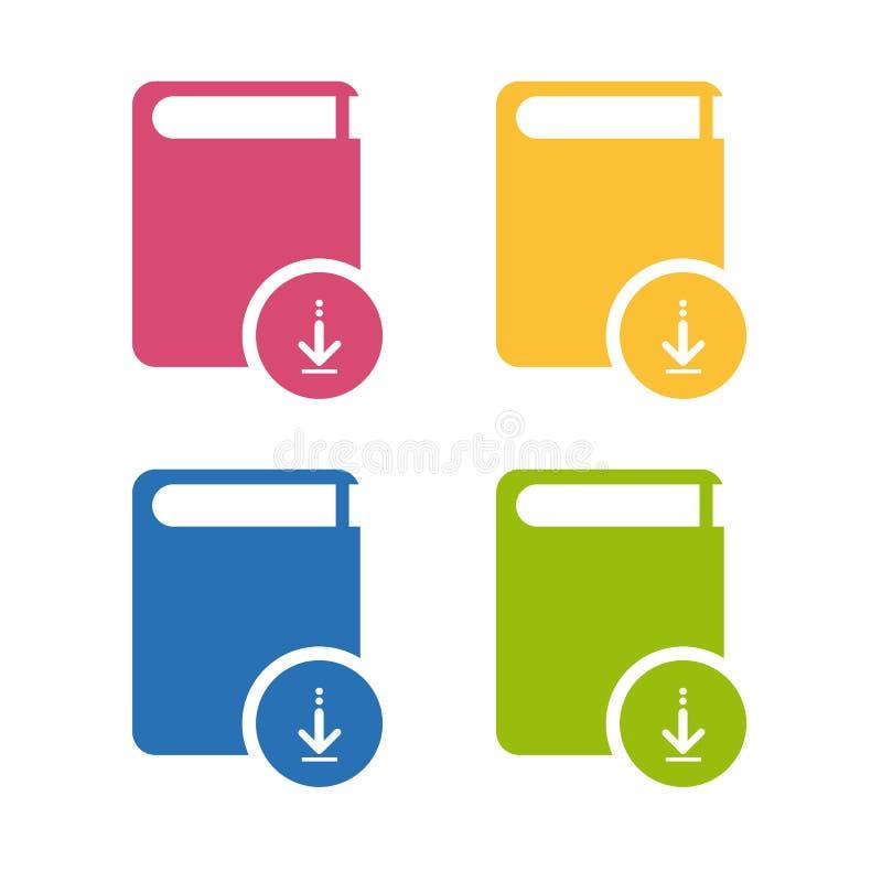 Het Pictogram van de boekdownload - Kleurrijke Geplaatste die Vector - op Wit wordt geïsoleerd stock illustratie