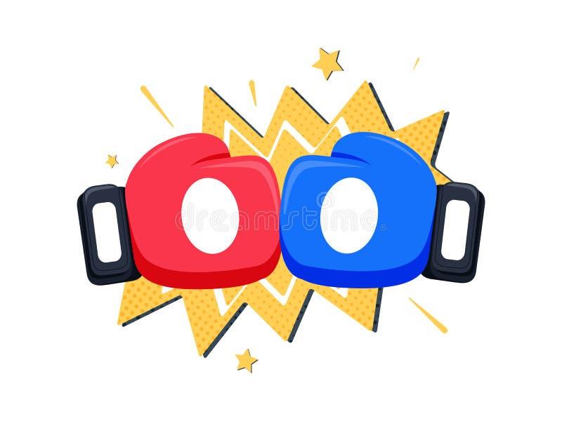 Het pictogram van de bokshandschoenenstrijd, rood versus blauw Het beeldverhaal vectorillustratie van het slagembleem stock illustratie