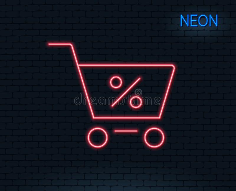 Het pictogram van de boodschappenwagentjelijn Online het kopen teken vector illustratie