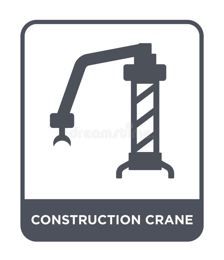 het pictogram van de bouwkraan in in ontwerpstijl het pictogram van de bouwkraan op witte achtergrond wordt geïsoleerd die de vec vector illustratie