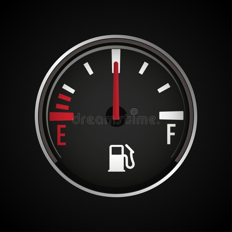 Het pictogram van de brandstofmaat Benzineindicator Vector illustratie royalty-vrije illustratie