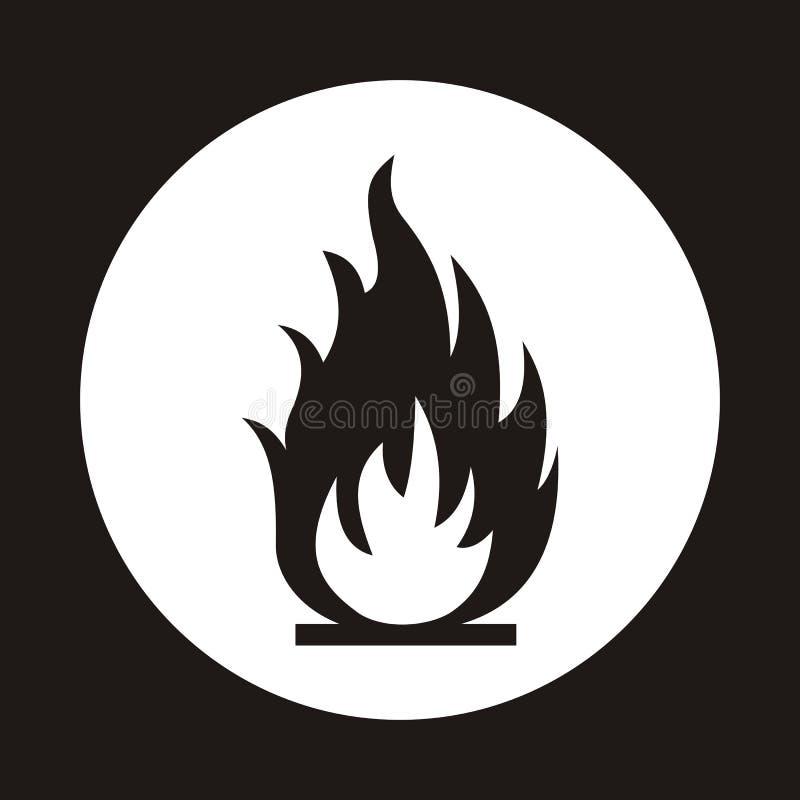 het pictogram van de brandvlam Zwart die pictogram op witte achtergrond wordt geïsoleerd Brand F royalty-vrije illustratie
