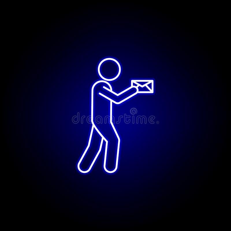 het pictogram van de de brievenlijn van de koeriersbrievenbesteller in blauwe neonstijl Reeks pictogrammen van de logistiekillust vector illustratie
