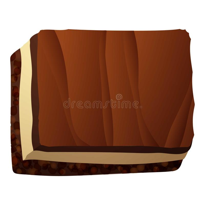 Het pictogram van het de cakestuk van de Chocomelk, beeldverhaalstijl vector illustratie