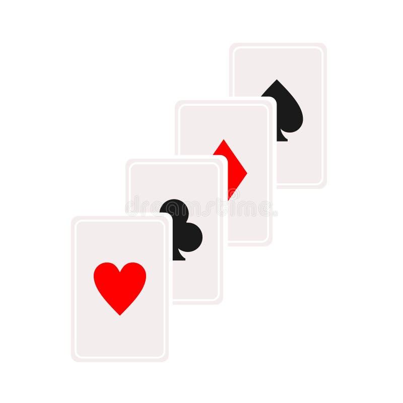 Het pictogram van de cascadekaart Speelkaartsymbool, embleemillustratie Vector isoleer op witte achtergrond Casinoteken gambling royalty-vrije illustratie