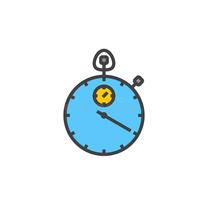 Het pictogram van de chronometerlijn, gevuld overzichts vectorteken, lineair kleurrijk pictogram dat op wit wordt geïsoleerd vector illustratie