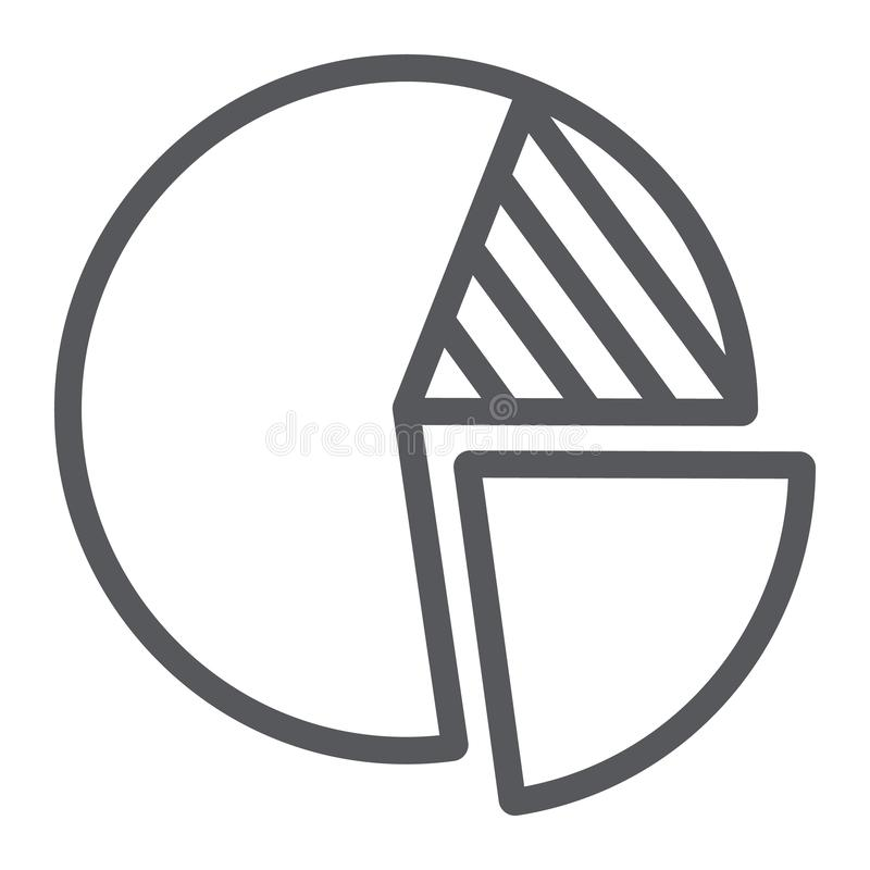 Het pictogram van de cirkeldiagramlijn, financiën en statistieken, rond grafiekteken, vectorafbeeldingen, een lineair patroon van stock illustratie