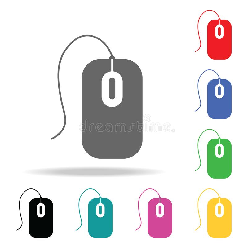 Het pictogram van de computermuis Elementen in multi gekleurde pictogrammen voor mobiel concept en Web apps Pictogrammen voor web royalty-vrije illustratie