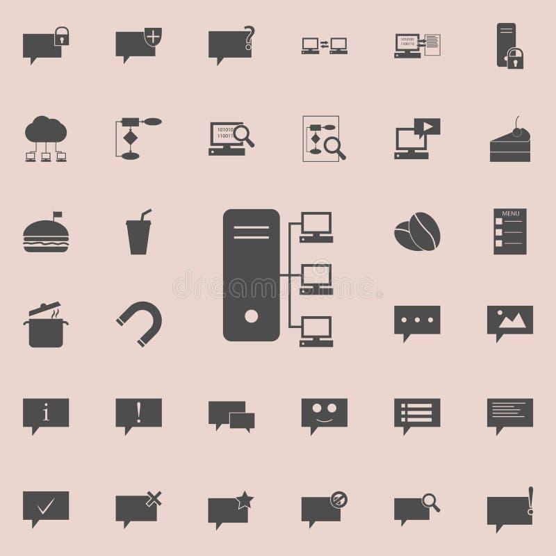 Het pictogram van de computerserver Gedetailleerde reeks minimalistic pictogrammen Grafisch het ontwerpteken van de premiekwalite stock illustratie