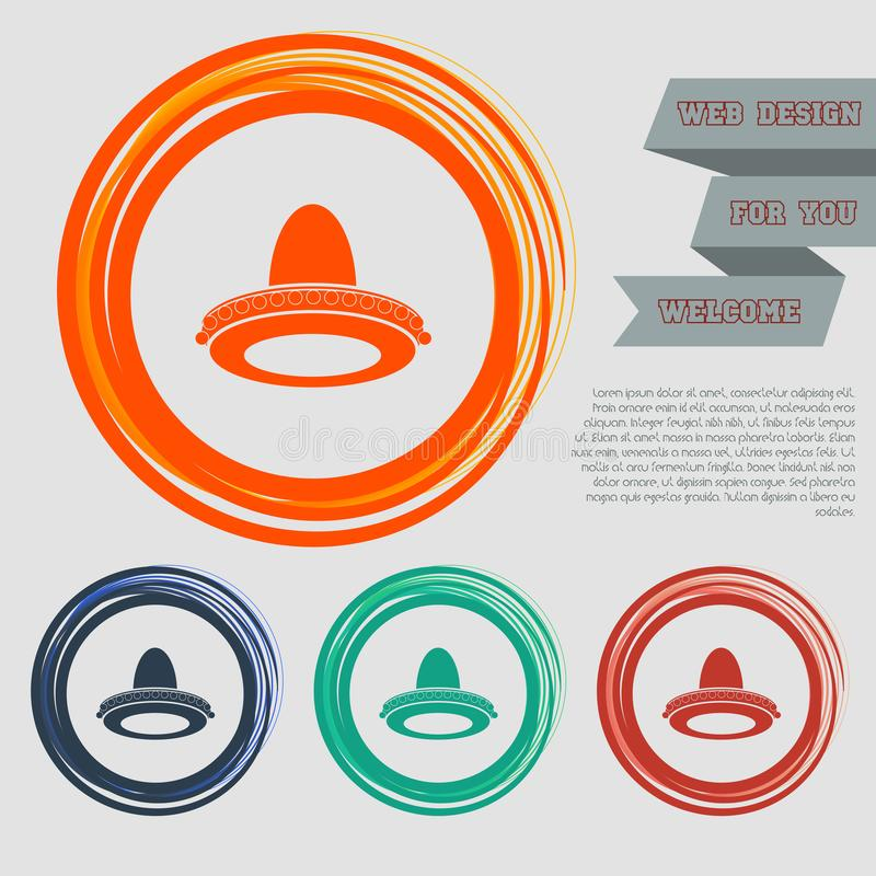 Het pictogram van de cowboyhoed op de rode, blauwe, groene, oranje knopen voor uw website en ontwerp met ruimteteksten royalty-vrije illustratie