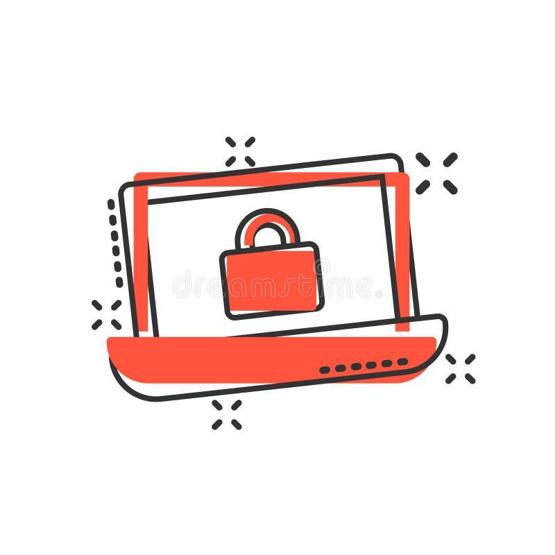 Het pictogram van de Cyberveiligheid in grappige stijl Hangslot gesloten vectorbeeldverhaalillustratie op wit geïsoleerde achterg vector illustratie