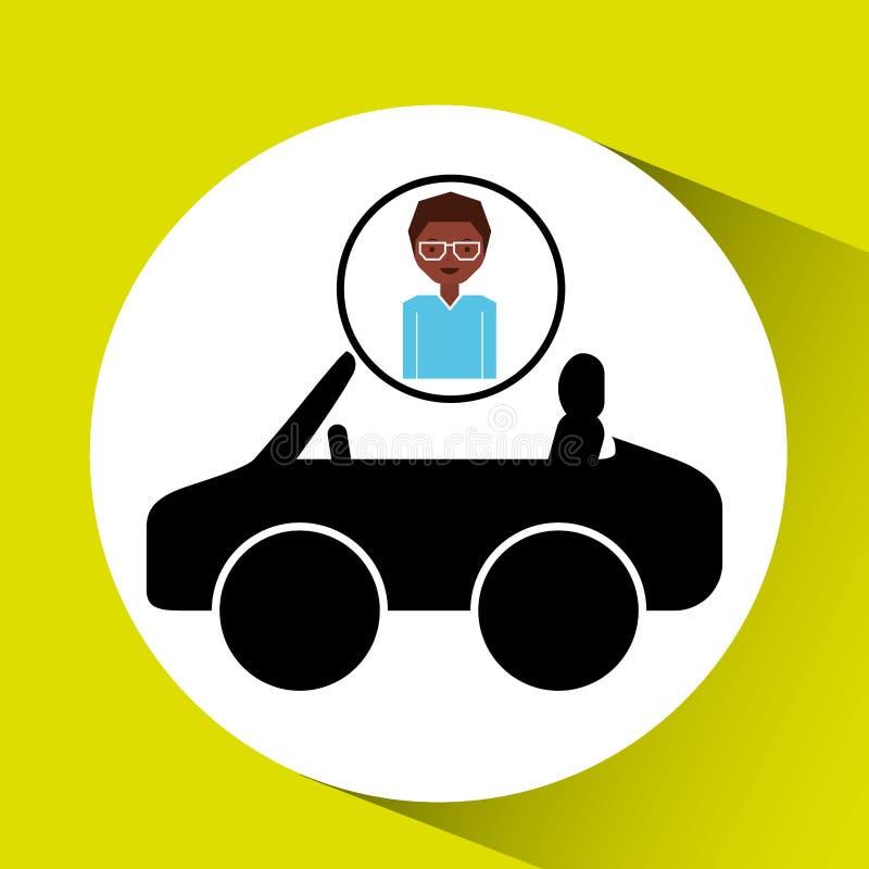 Het pictogram van de de autosport van meisjesafro royalty-vrije illustratie