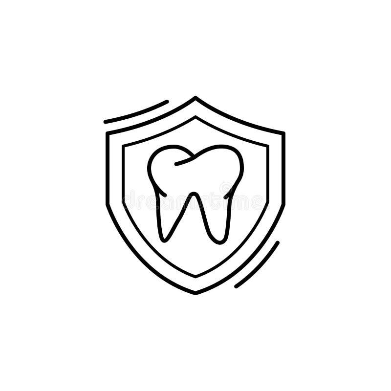 Het pictogram van de defensie tand van Caries Eenvoudige lijn, omtrek van de tandheelkundige pictogrammen voor ui en ux, website  vector illustratie